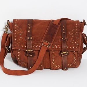 Free People Studded Distressed Messenger Bag